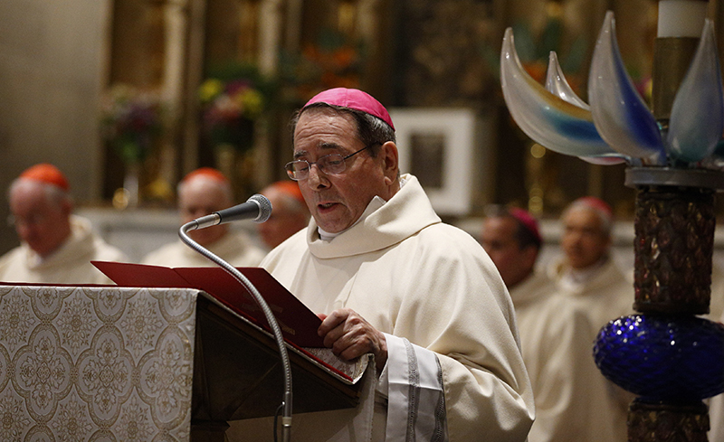 Archbishop John J. Myers of Newark, N.J., addresses Pope Francis at the conclusion of Mass at the Pontifical North American College in Rome on May 2, 2015. Photo by Paul Haring, courtesy of Catholic News Service