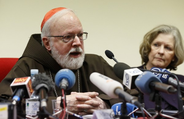 Cardinal Sean P. O'Malley of Boston, head of the Pontifical Commission for Child Protection, speaks at a news conference at the Pontifical Gregorian University in Rome on Feb. 16, 2015. Photo by Paul Haring, courtesy of Catholic News Service