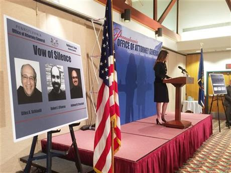 Attorney General Kathleen Kane announces criminal conspiracy charges against leaders of the Franciscan Order located in Holidaysburg, Pa., on Tuesday, March 15, 2016, in Johnstown, Pa. Three ex-leaders of the Franciscan religious order were charged Tuesday with allowing a friar who was a known sexual predator to take on jobs, including a position as a high school athletic trainer, that enabled him to molest more than 100 children.