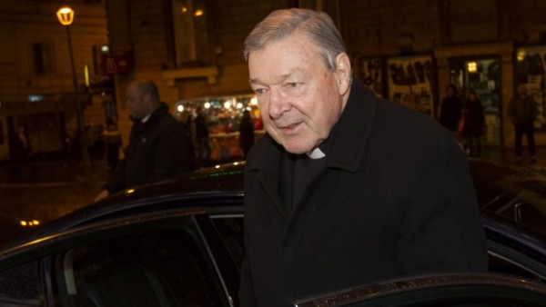 Cardinal George Pell arrives at the Quirinale hotel