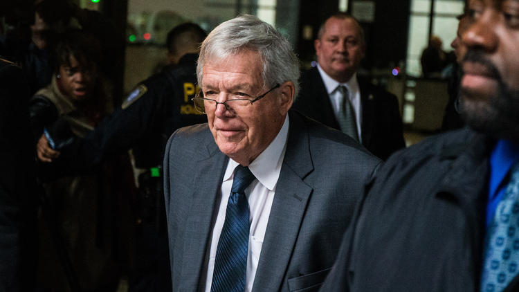 Former House Speaker Dennis Hastert leaves the Dirksen U.S. Courthouse in Chicago on Oct. 28, 2015, after pleading guilty to one felony count of illegally structuring cash withdrawals to evade bank currency-reporting requirements.
