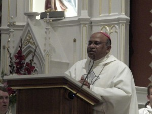 Bishop Gallela Prasad during a dedication Mass at Saints Peter and Paul Catholic Church in Seneca, Kansas, in 2013.