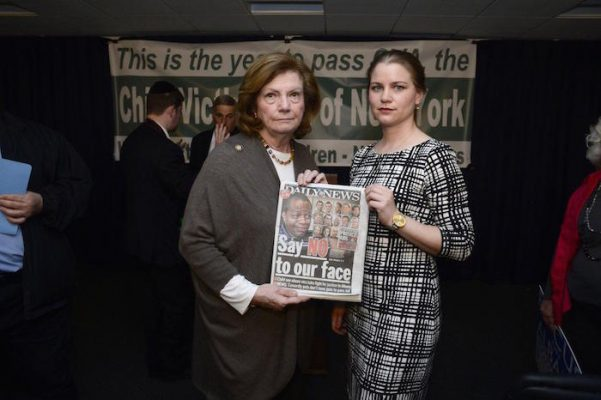 New York Assemblywoman Margaret Markey (l.), seen with sex abuse survivor Bridie Farrell, says the head of the Brooklyn Catholic Church tried to bribe her.