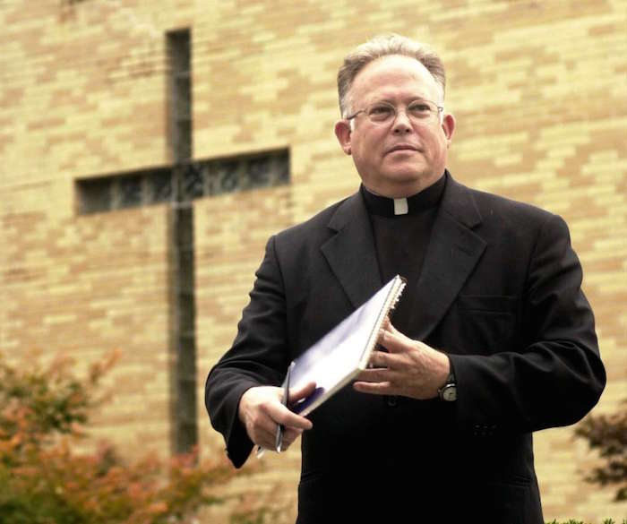 The Rev. Robert Morrissey pictured at St. Mary's Church in Ridgefield, Conn. is accused of abusing altar boys in the late 1970s and early 1980s at St. Mary's High School in Greenwich.