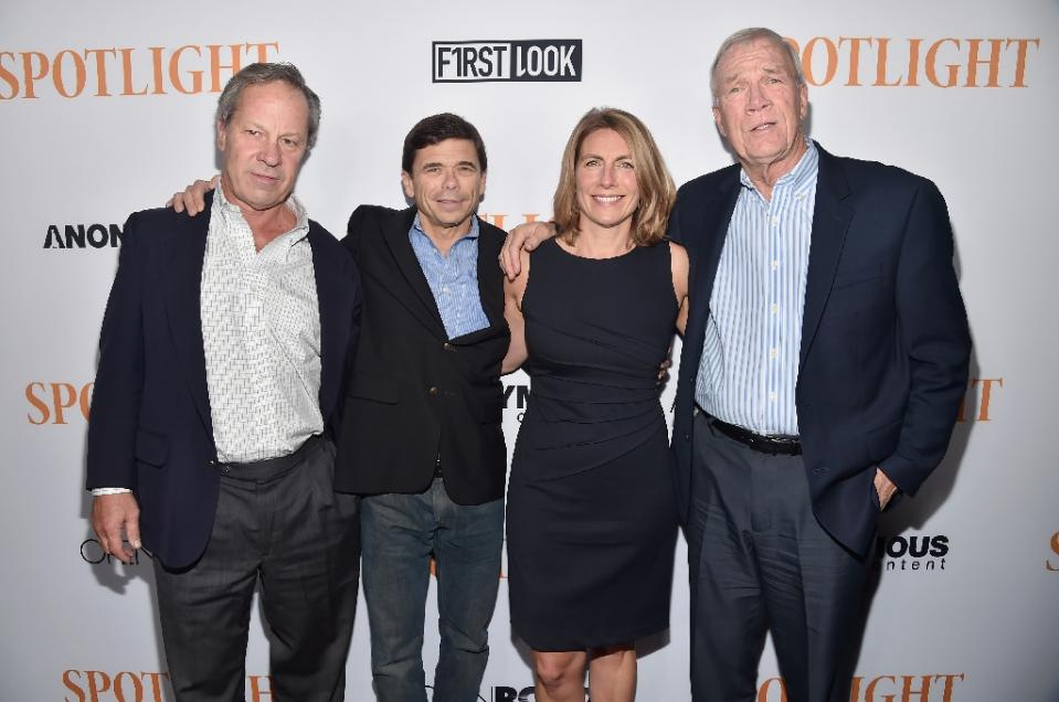 """L-R: Journalists Ben Bradlee, Jr., Michael Rezendes, Sacha Pfeiffer and Walter Robinson attend a special screening of Open Road Films' """"Spotlight"""" at The DGA Theater on November 3, 2015 in Los Angeles, California"""