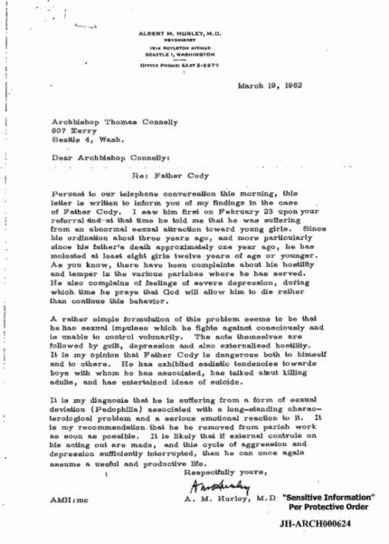 """A psychiatrist's letter about diagnosing Father Michael Cody with """"pedophilia."""""""