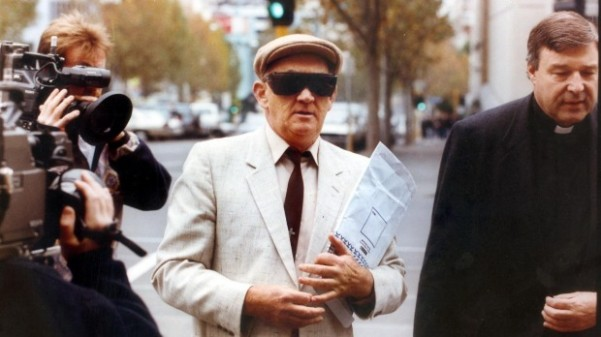 Church keeps sex abuse files secret: Gerald Ridsdale outside court with George Pell.