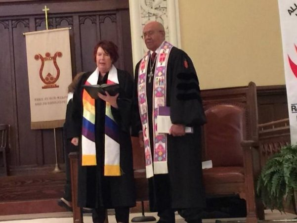 Pastor Val Rosenquist (L) and Bishop Melvin Talbert, who presided over the first same-sex wedding in a United Methodist church in North Carolina.