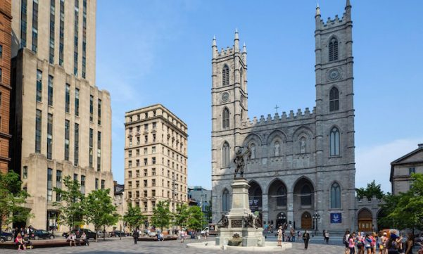 The Basilica of Notre-Dame in the Place d'Armes in Old Montreal in Quebec, Canada.