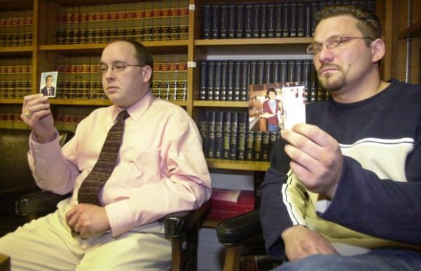 Brian Gergely (right) was sexually abused by his priest for years. Gergely, 46, took his own life on Friday. He is pictured here with Kevin Hoover in 2003 after filing a lawsuit gainst the Altoona-Johnstown Diocese.