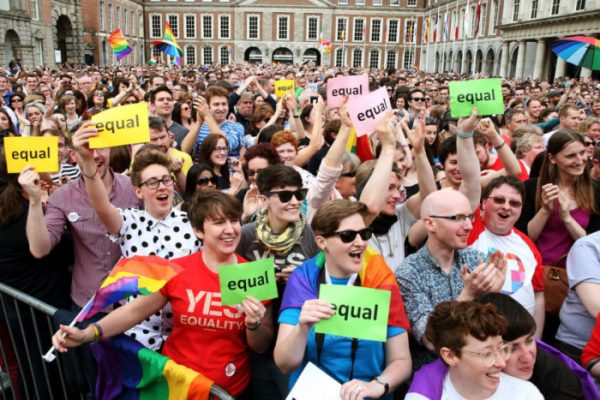 People gathered at the Central Count Centre in Dublin Castle in 2015 for the historic announcement of the gay marriage referendum.