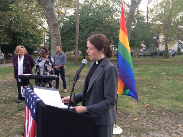 Clergy, parishioners, public officials and LGBTU rights advocates rallied in Hoboken Wednesday night in support of a gay Catholic priest, the Rev. Warren Hall, suspended by Archbishop John J. Myers on a charge of disobedience after speaking out in support of a Paramus Catholic High School faculty member fired for being in a same-sex marriage.